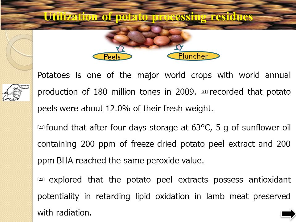 Utilization of potato processing residues