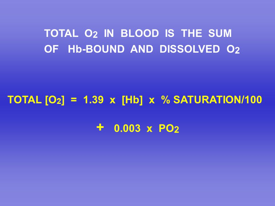 TOTAL O2 IN BLOOD IS THE SUM
