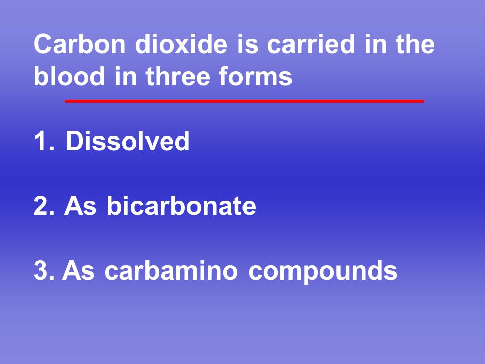 Carbon dioxide is carried in the