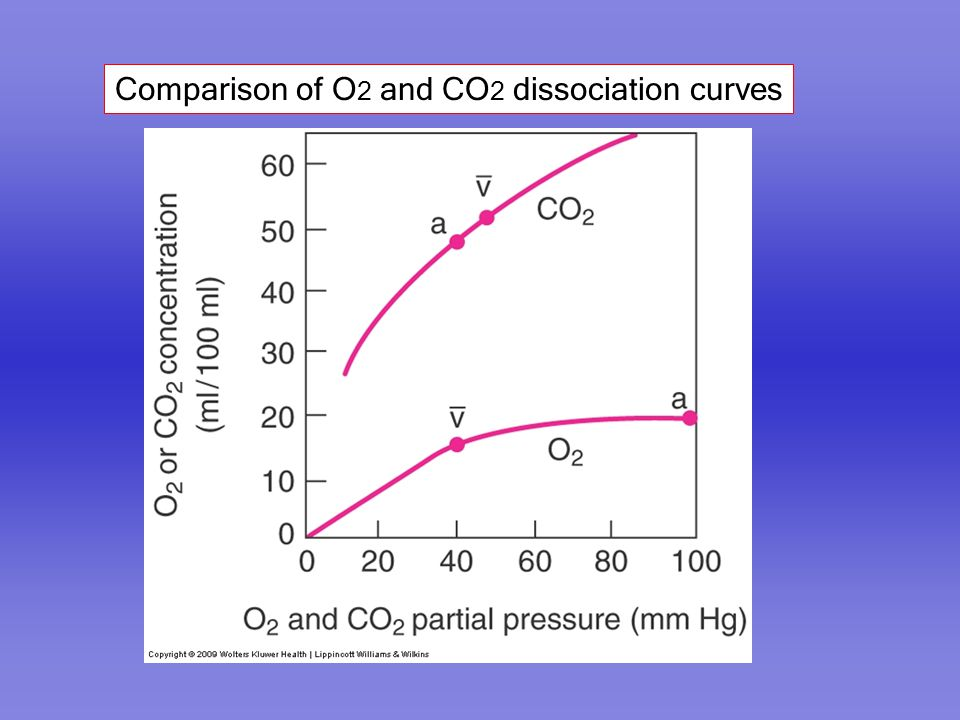 Comparison of O2 and CO2 dissociation curves