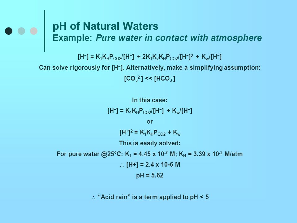 pH of Natural Waters Example: Pure water in contact with atmosphere