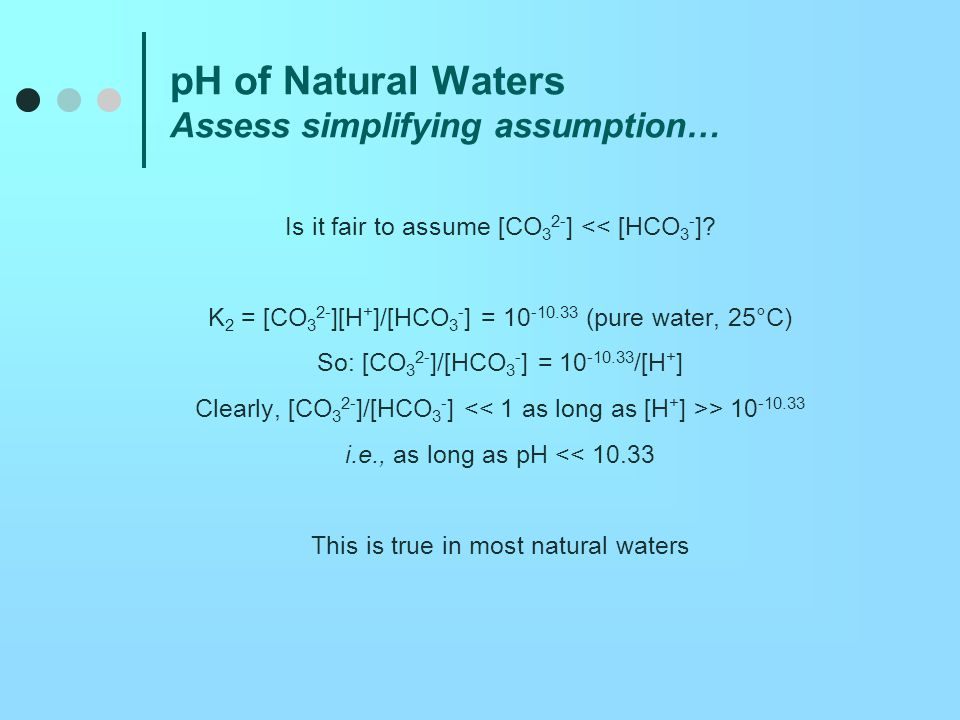 pH of Natural Waters Assess simplifying assumption…