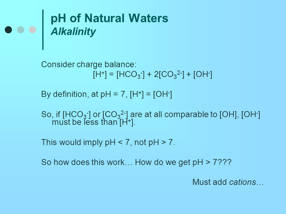 pH of Natural Waters Alkalinity