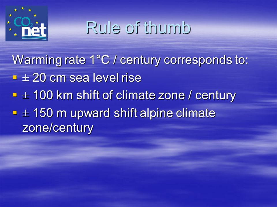Rule of thumb Warming rate 1°C / century corresponds to: