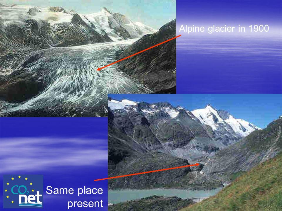 Same place present Alpine glacier in 1900