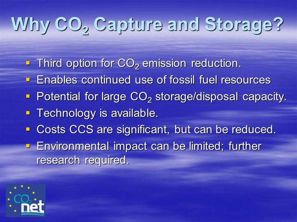 Why CO2 Capture and Storage