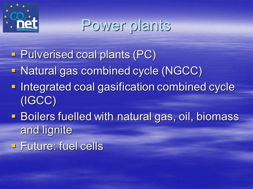 Power plants Pulverised coal plants (PC)