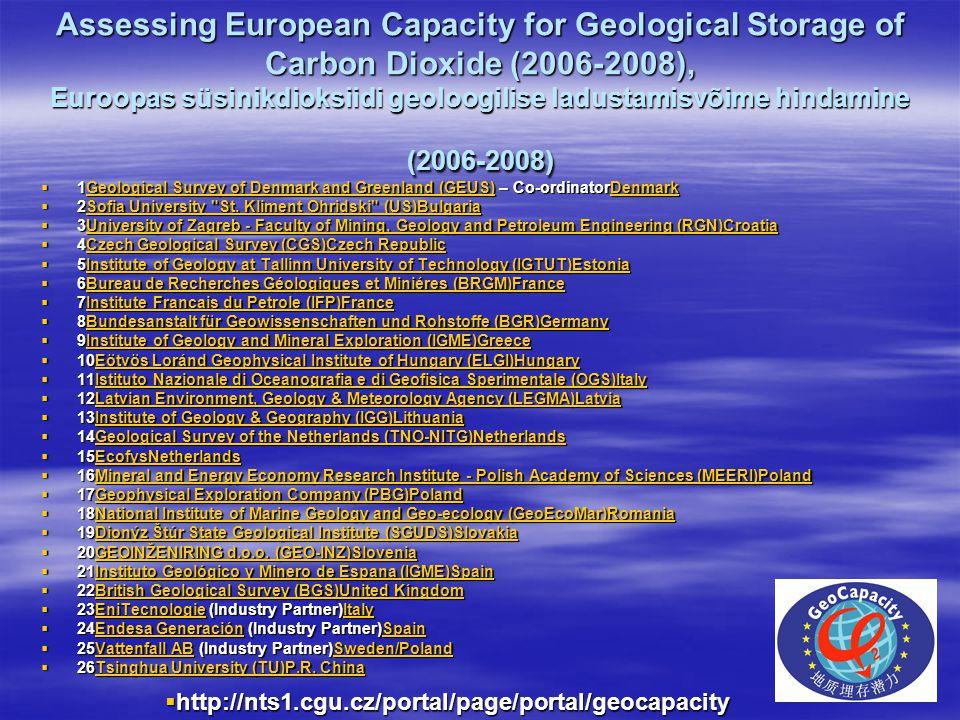 Assessing European Capacity for Geological Storage of Carbon Dioxide (2006-2008), Euroopas süsinikdioksiidi geoloogilise ladustamisvõime hindamine (2006-2008)