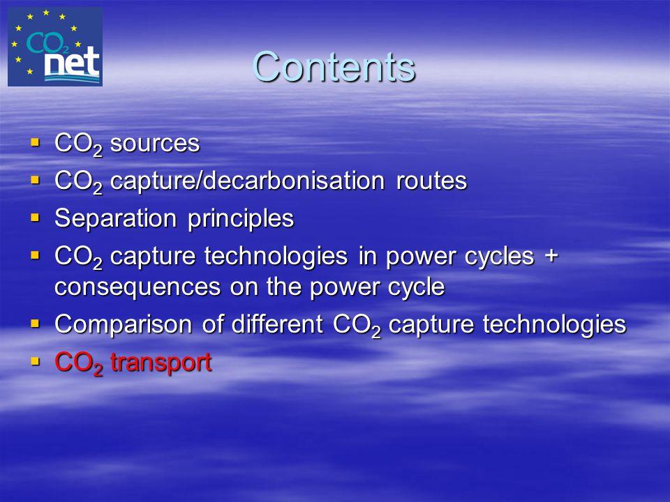 Contents CO2 sources CO2 capture/decarbonisation routes