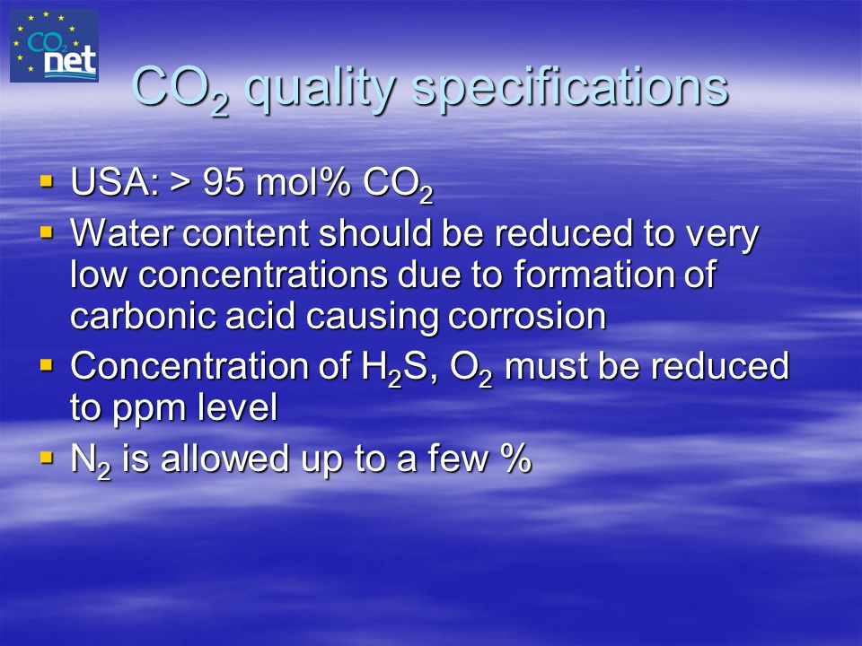 CO2 quality specifications