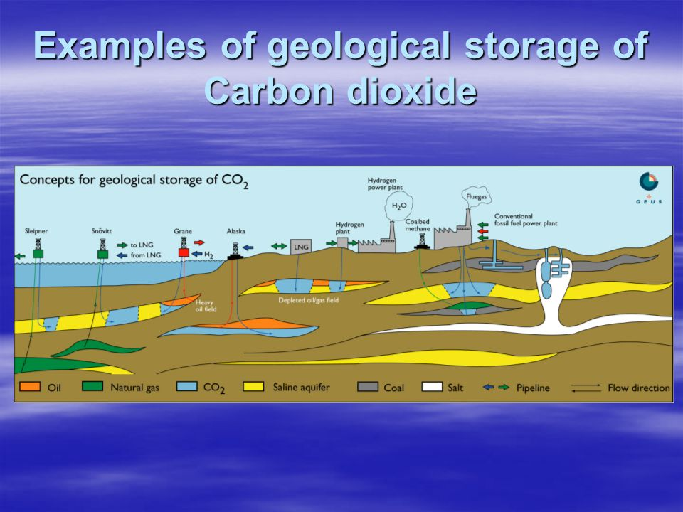 Examples of geological storage of Carbon dioxide