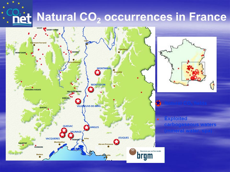 Natural CO2 occurrences in France