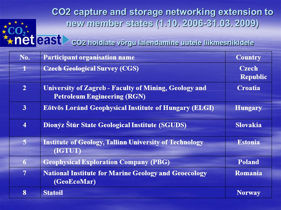 CO2 capture and storage networking extension to new member states (1