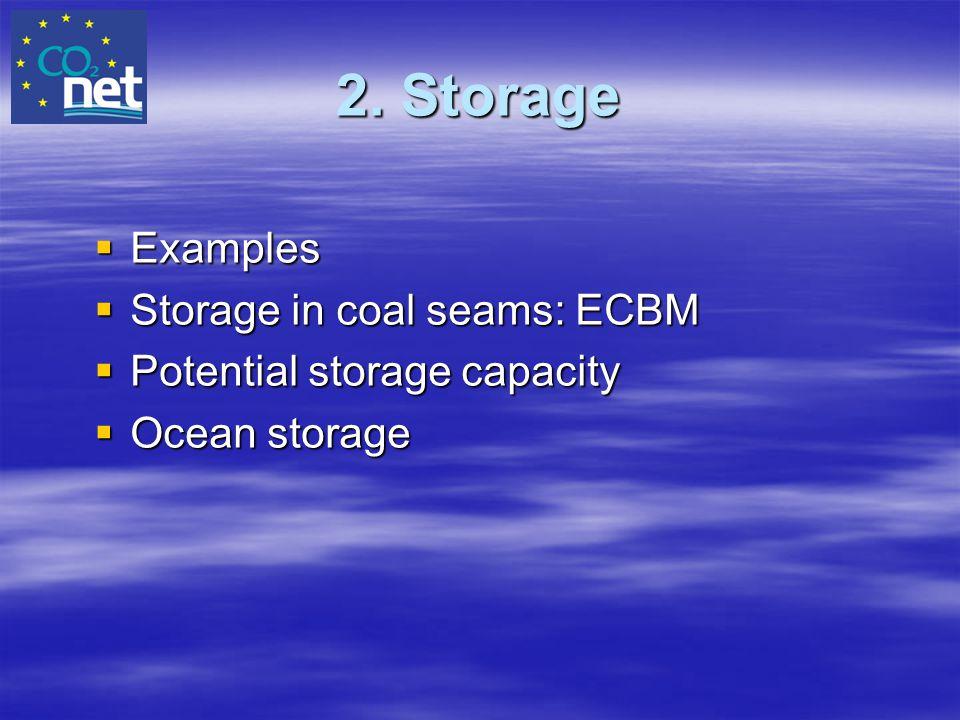 2. Storage Examples Storage in coal seams: ECBM
