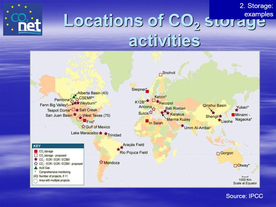 Locations of CO2 storage activities