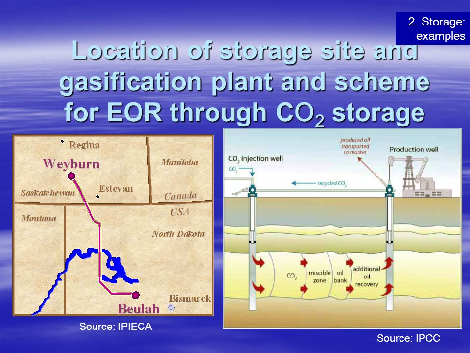 2. Storage: examples Location of storage site and gasification plant and scheme for EOR through CO2 storage.