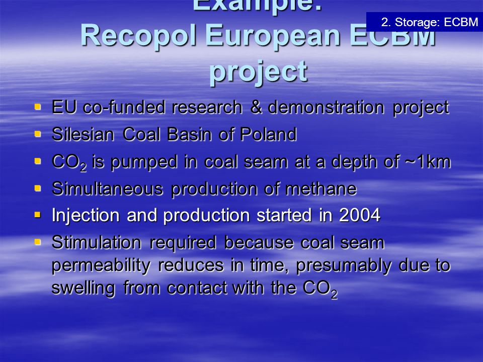 Example: Recopol European ECBM project