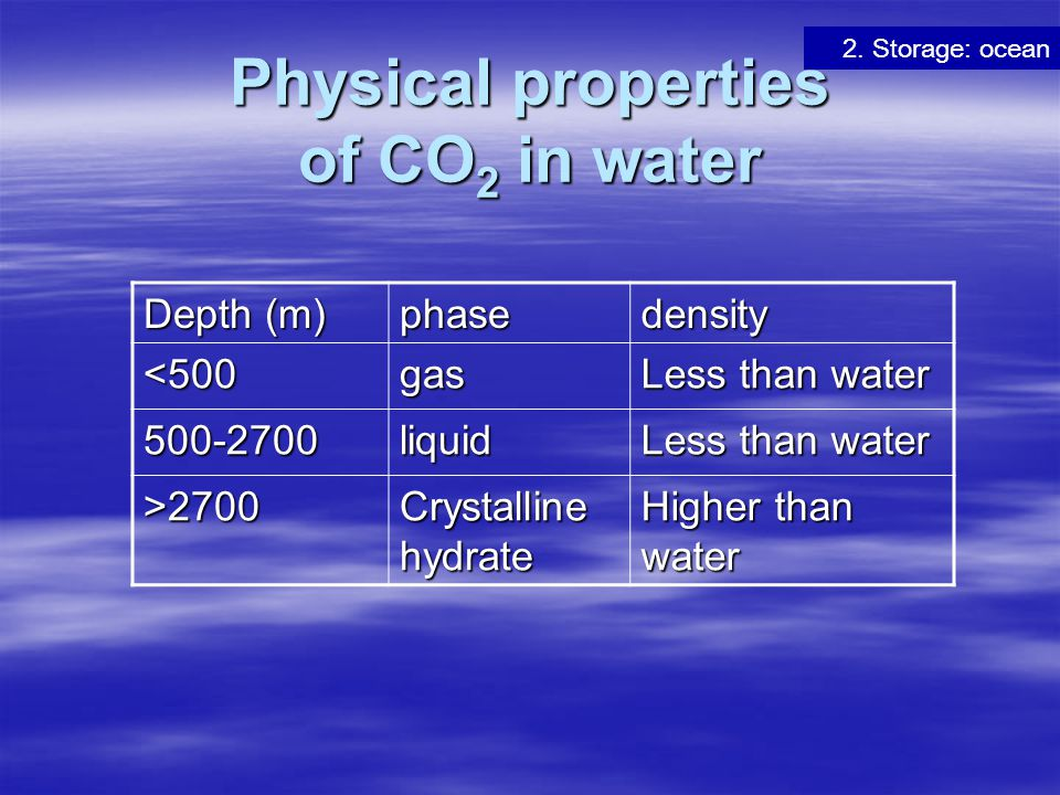Physical properties of CO2 in water