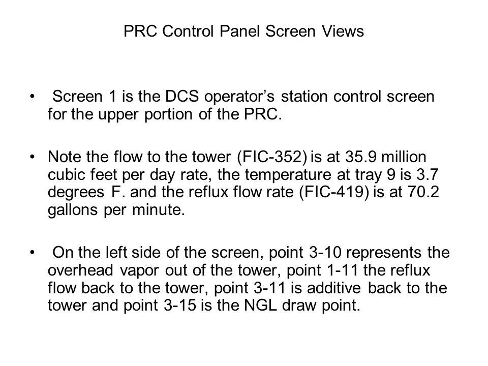 PRC Control Panel Screen Views