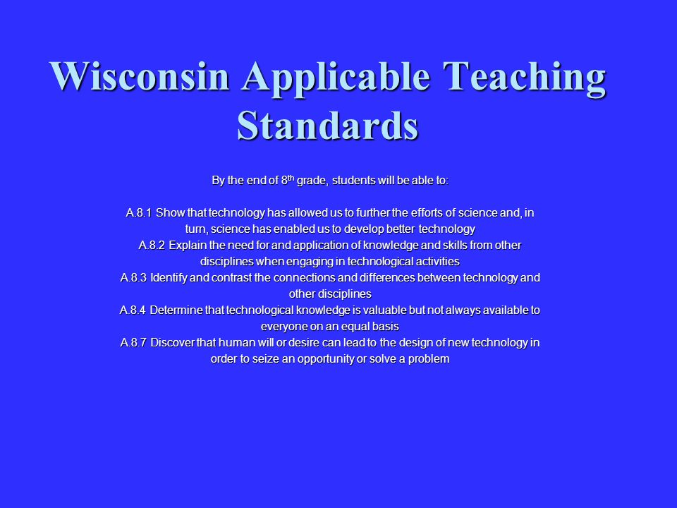 Wisconsin Applicable Teaching Standards