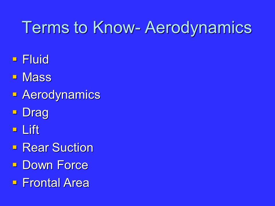 Terms to Know- Aerodynamics