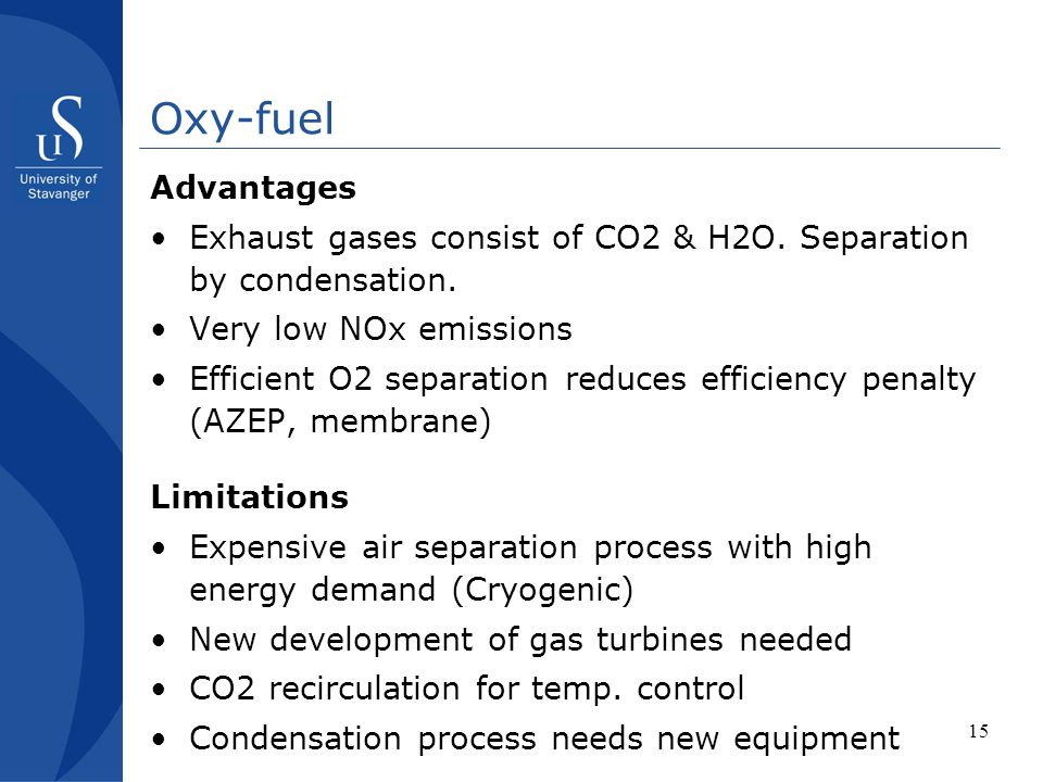 Oxy-fuel Advantages. Exhaust gases consist of CO2 & H2O. Separation by condensation. Very low NOx emissions.