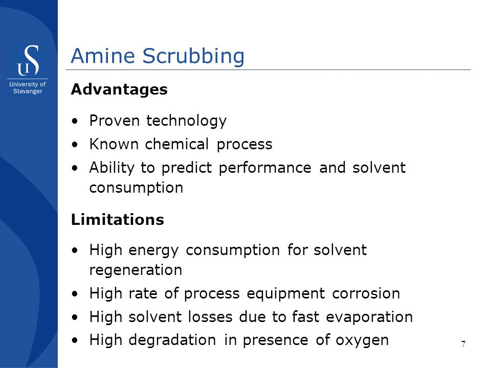 Amine Scrubbing Advantages Proven technology Known chemical process