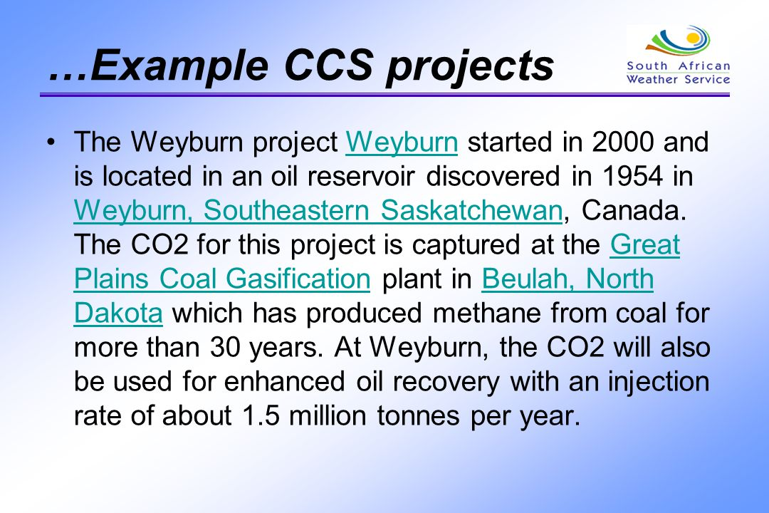 …Example CCS projects