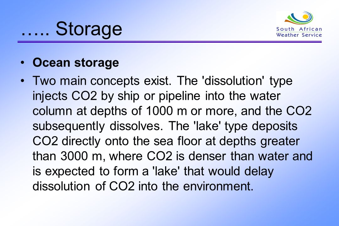….. Storage Ocean storage