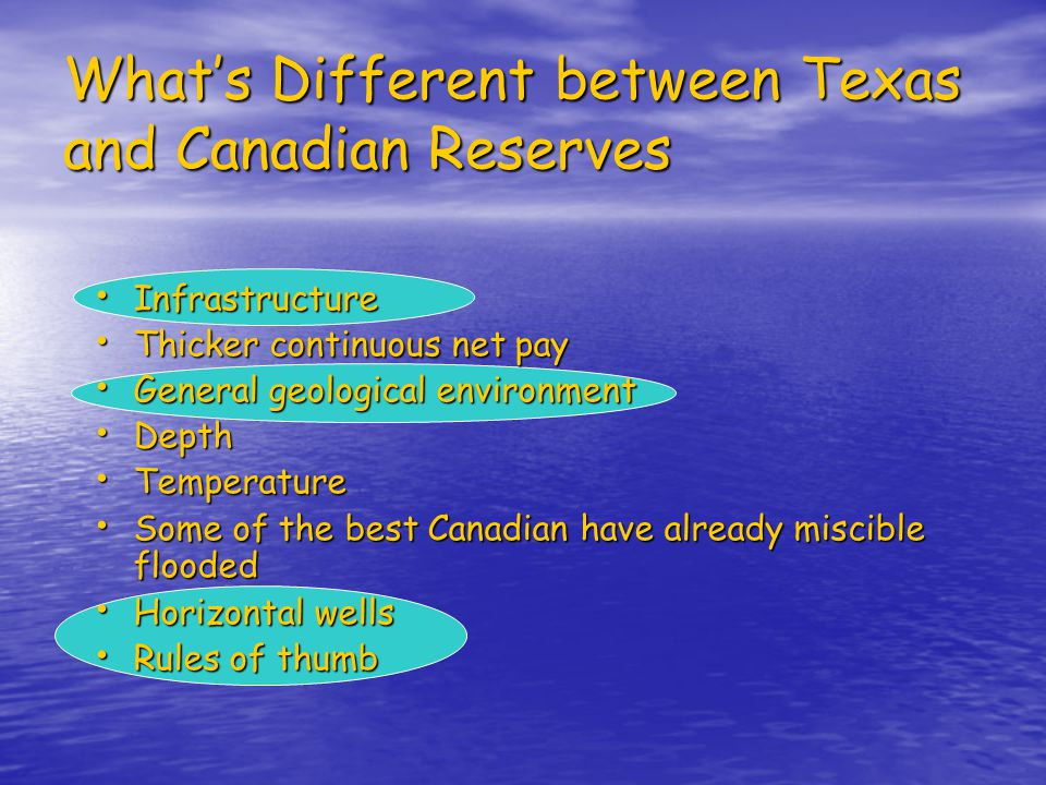 What's Different between Texas and Canadian Reserves