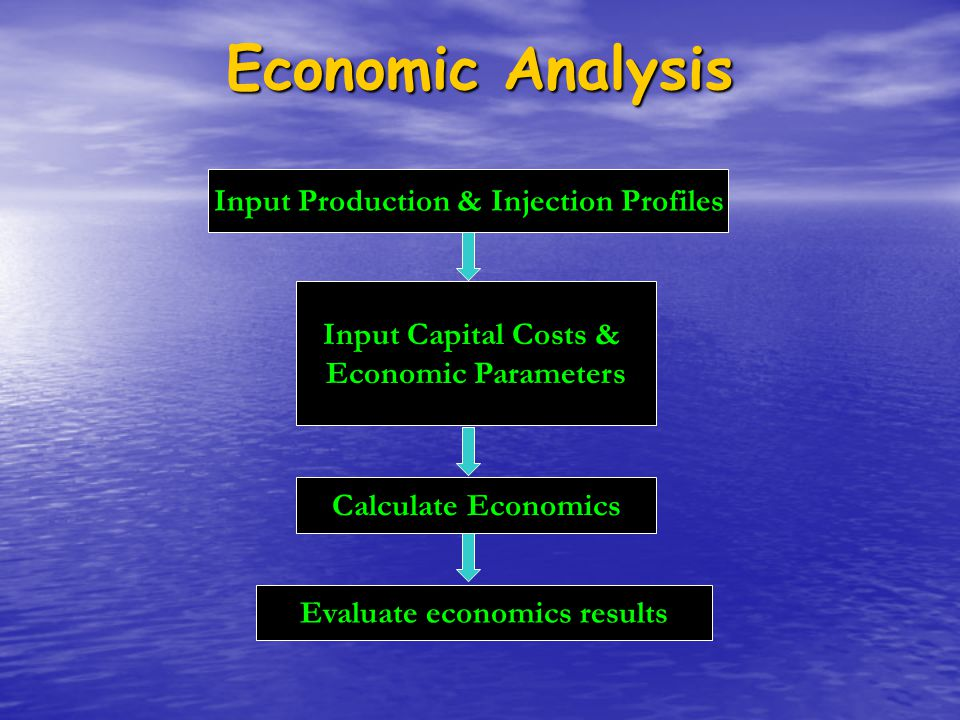 Input Production & Injection Profiles Evaluate economics results