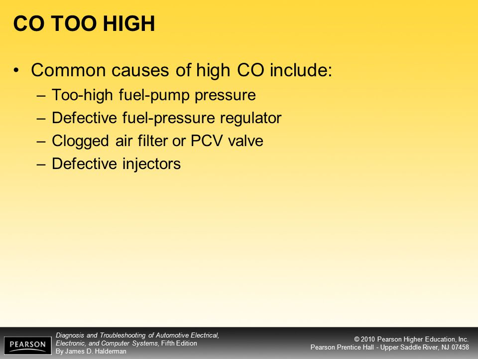 CO TOO HIGH Common causes of high CO include: