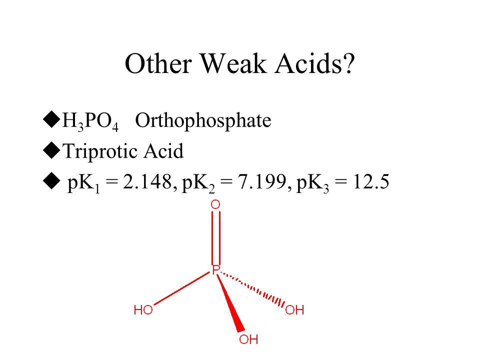 Other Weak Acids H3PO4 Orthophosphate Triprotic Acid