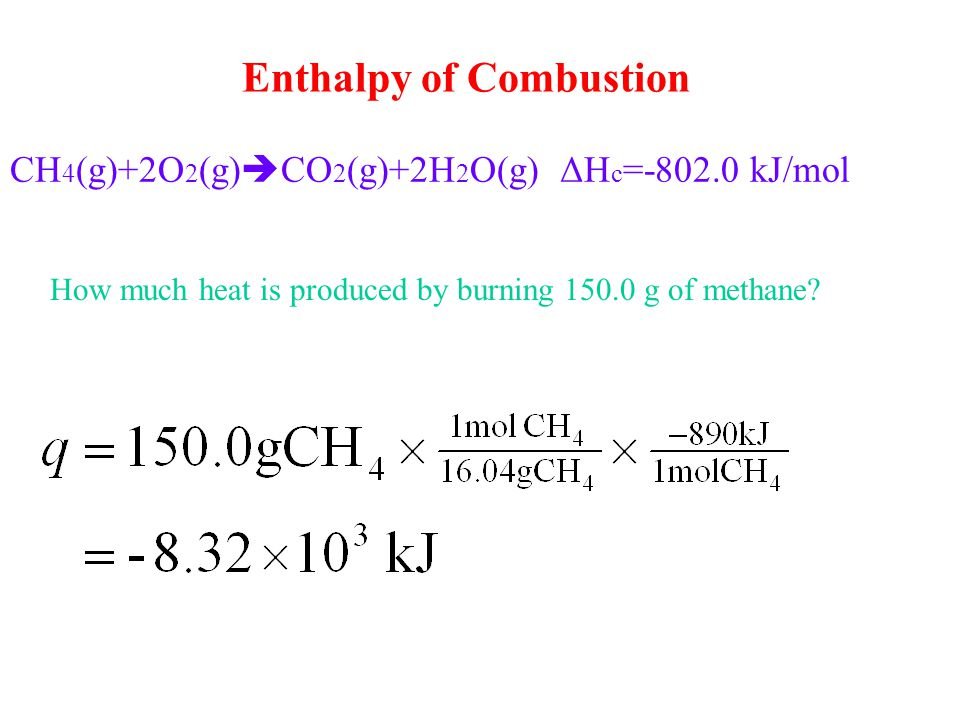 CH4(g)+2O2(g)CO2(g)+2H2O(g) ΔHc=-802.0 kJ/mol