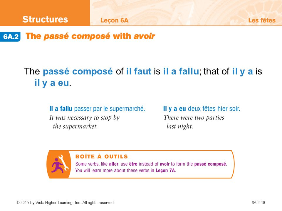 The passé composé of il faut is il a fallu; that of il y a is il y a eu.