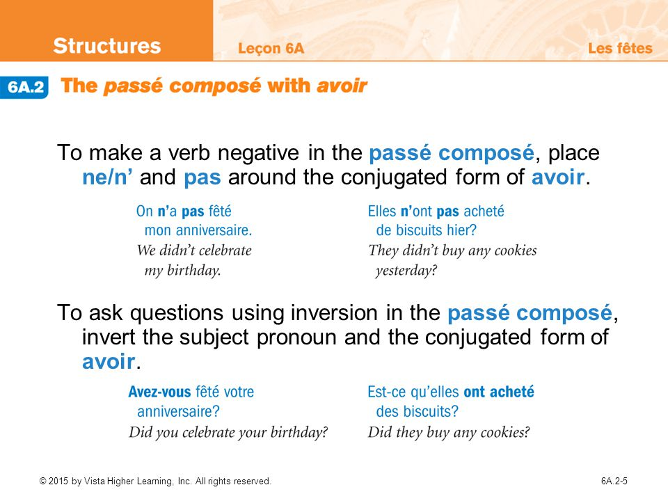 To make a verb negative in the passé composé, place ne/n' and pas around the conjugated form of avoir.