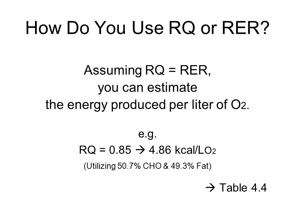 How Do You Use RQ or RER Assuming RQ = RER, you can estimate
