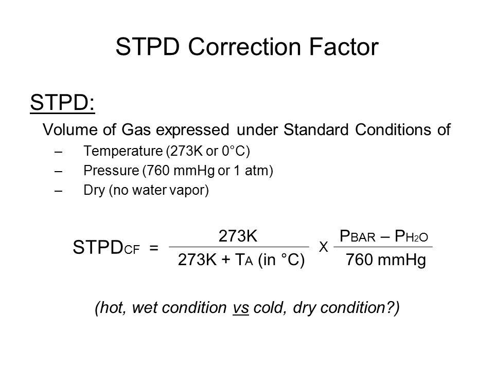STPD Correction Factor