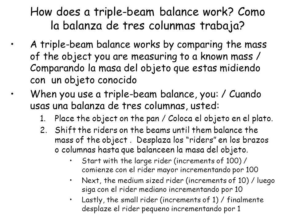 How does a triple-beam balance work