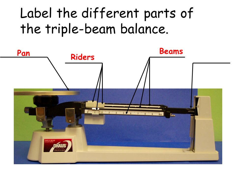 Label the different parts of the triple-beam balance.