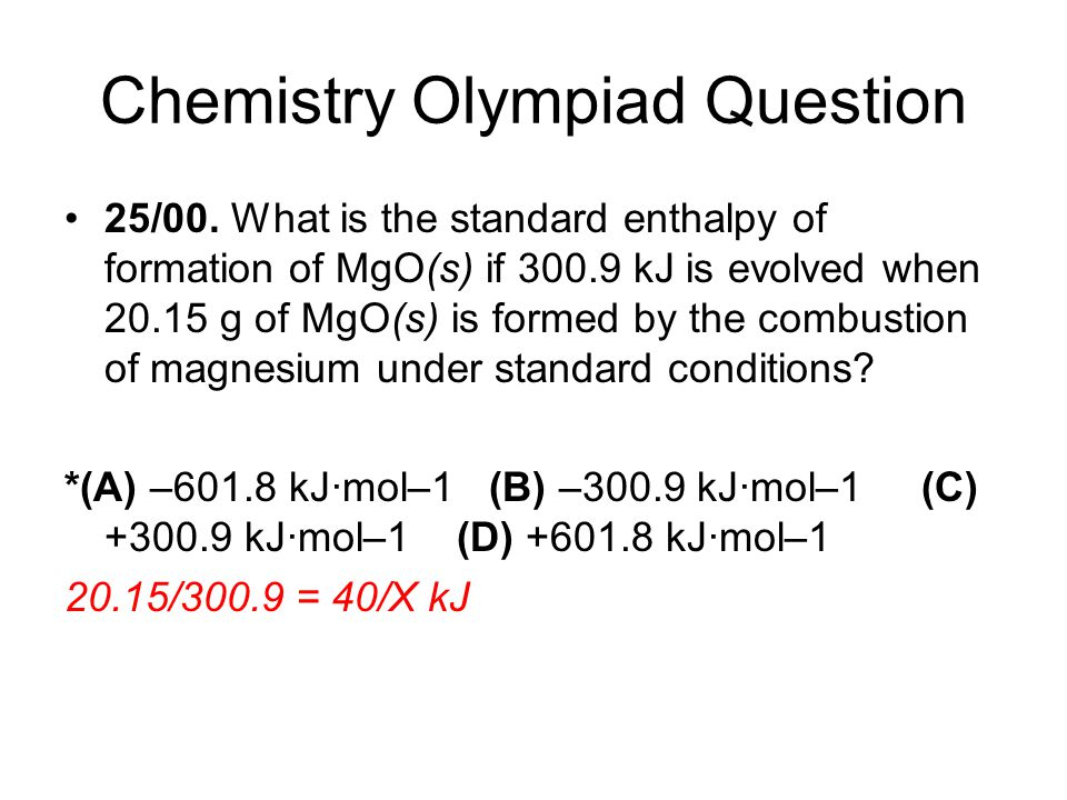 Chemistry Olympiad Question