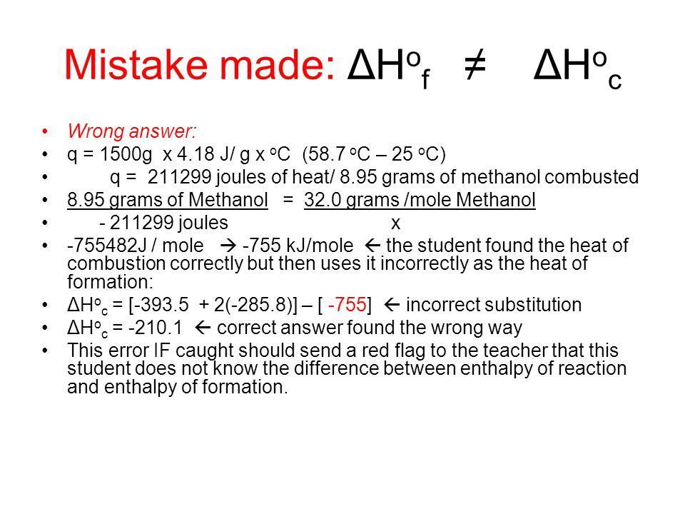 Mistake made: ΔHof ≠ ΔHoc