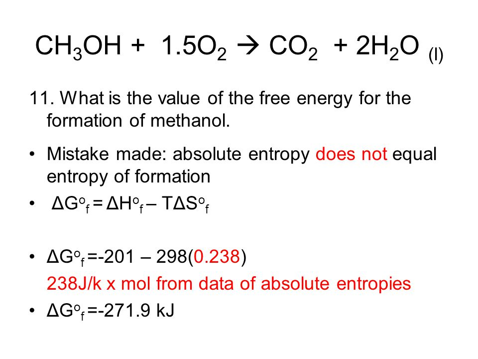 CH3OH + 1.5O2  CO2 + 2H2O (l) 11. What is the value of the free energy for the formation of methanol.
