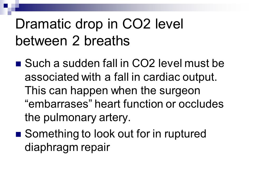 Dramatic drop in CO2 level between 2 breaths