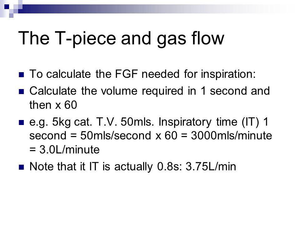 The T-piece and gas flow