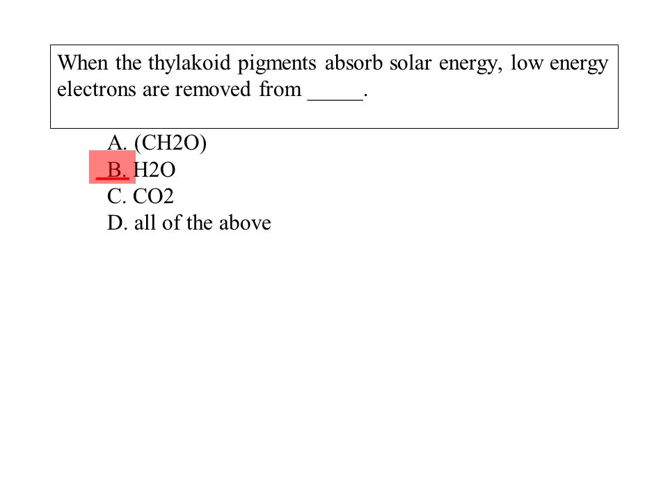 When the thylakoid pigments absorb solar energy, low energy electrons are removed from _____. A. (CH2O) B. H2O C. CO2 D. all of the above