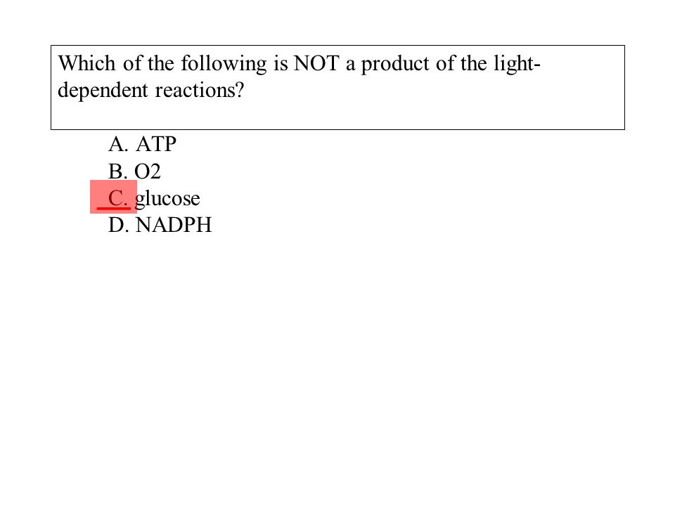 Which of the following is NOT a product of the light-dependent reactions A. ATP B. O2 C. glucose D. NADPH
