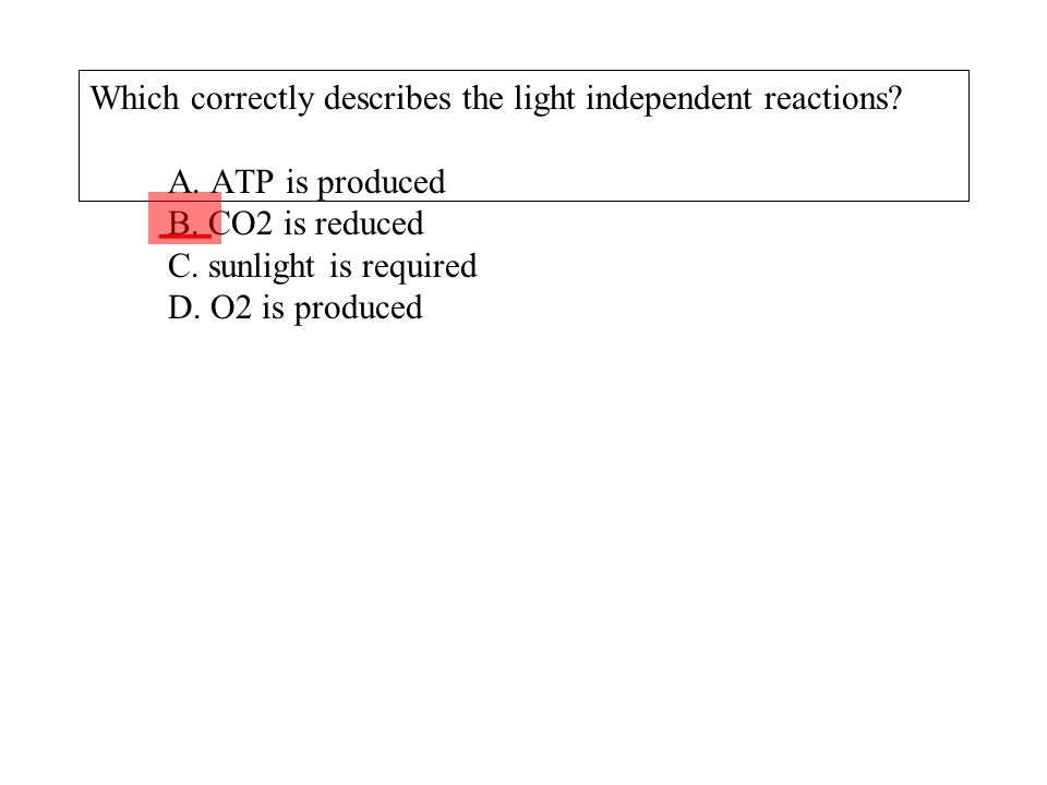 Which correctly describes the light independent reactions. A