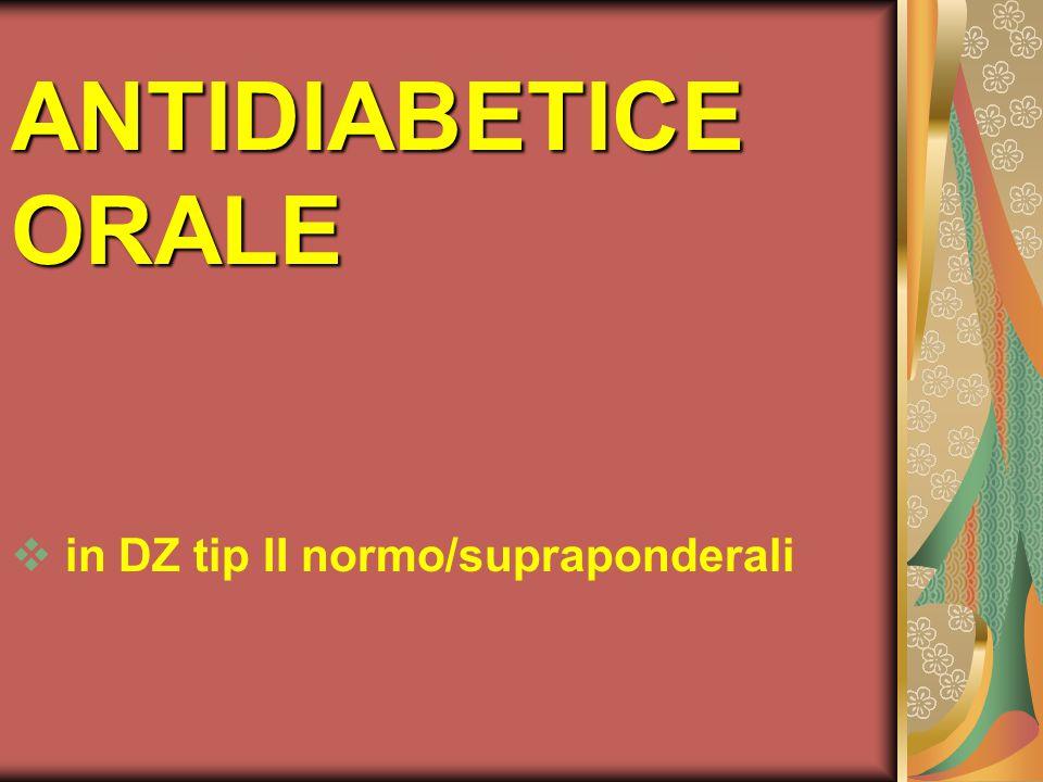 ANTIDIABETICE ORALE in DZ tip II normo/supraponderali
