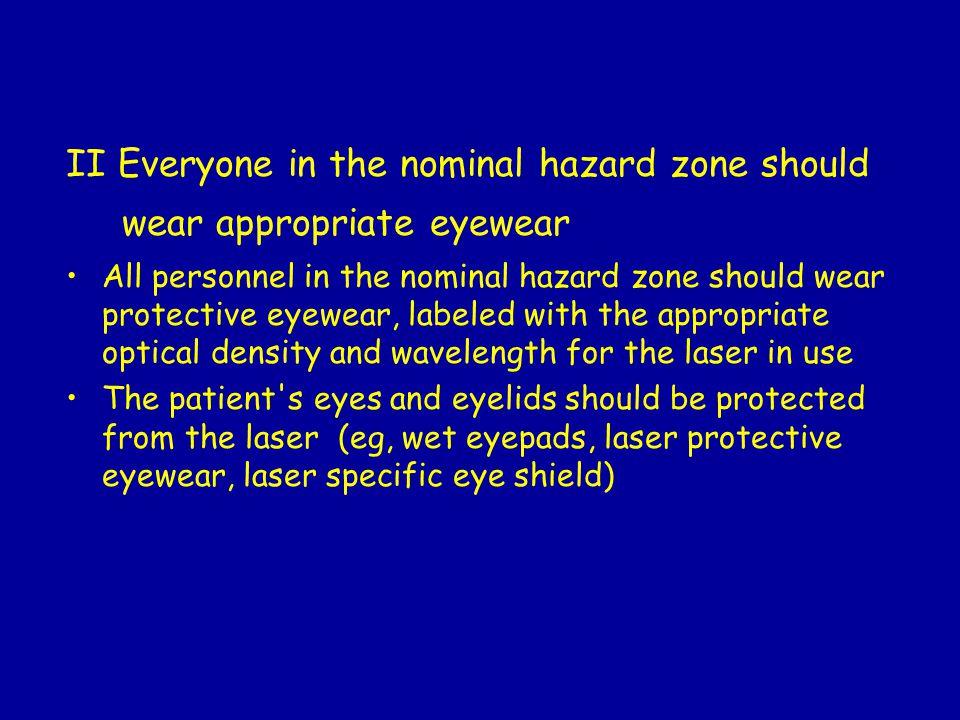 II Everyone in the nominal hazard zone should wear appropriate eyewear
